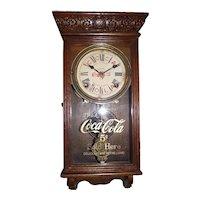 "Original ""Coca Cola"" Miniature Store Advertising Clock in a Solid Oak Case circa 1930 !"