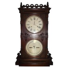 "Rare Seth Thomas ""Parlor No. 10"" Double Dial Shelf Clock in a Walnut Case Dated 1889 !!!"