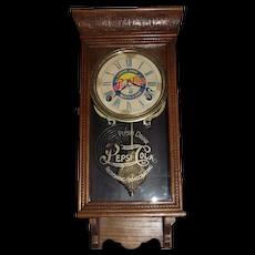 "Original ""Pepsi Cola"" Miniature Store Advertising Clock in a Solid Oak Case circa 1930 !"