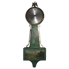 """Rare """"Sundial Shoes"""" Advertising Clock in a Wm. Gilbert Model 1807 Banjo Case circa 1940's."""