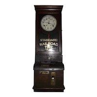 """B. & O. Railroad * 100 East Main Street, Grafton,WV."" Employee Time Punch Clock in a Solid Oak Case !"
