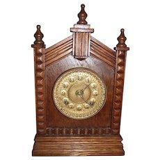 Ansonia Shelf Clock in a Solid Oak Case circa 1908 !