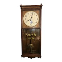 "Massive Oak ""Santa Fe Route"" Authentic Railroad Clock, Circa 1909 Seth Thomas Model No. 31 Regulator from the ""Traffic Office * 412 Commerce Street * Atchison,Kansas""  !!!"