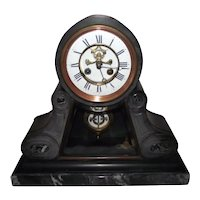 French Black Slate & Black Marble with White Veins Mantle Clock with 15 Day Movement Circa 1880's !