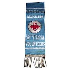"Brilliant Civil War Veterans Ribbon ""Association for the ""58th Pennsylvania Volunteer Regiment"" with hanging Silver Bullion Cord Trim ! Circa 1880's"