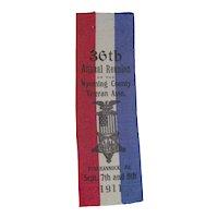"Civil Civil War Veterans 1911 Reunion Silk Ribbon dated for the ""36th Annual Reunion of Wyoming County, Tunkhannock, Pennsylvania Veterans""  !"