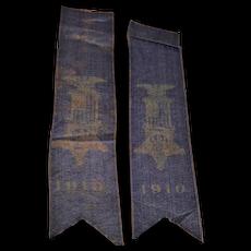 Two Matching Civil War G.A.R. Veteran Reunion Blue Silk Ribbons Dated 1910 !
