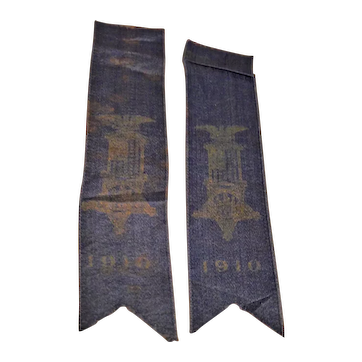 Two Matching Civil War G.A.R. Veteran Reunion Blue Silk Ribbons Dated 1910 !