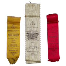 "Triple Set of Silk Ribbons for the 13th & 14th Annual  Reunion from the ""Wyoming County Veterans Association * Mehoopany,Pa.""  by ""J. Maynard G.A.R. Post No. 377"" 1888 & 1889 !"
