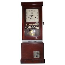 """""""North-Western Railway"""" Employee Time Punch Clock  in a Solid Mahogany Case !"""