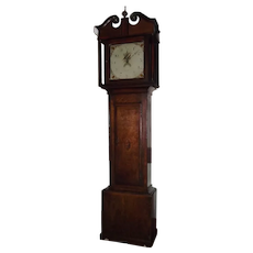 "Grandmother Clock Signed ""Coolie * Loughborough"" England with a Shell Inlaid door in the Quarter-Sawn Oak Case Circa 1790 to 1830's !"