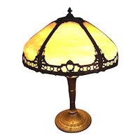 "Slag Glass Art-Nouveau Electric Table Lamp marked ""Miller Lamp Co."" Circa 1910-20 !"