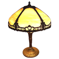 Slag Glass Art  Nouveau Shade for Electric Table Lamp Circa 1910 !
