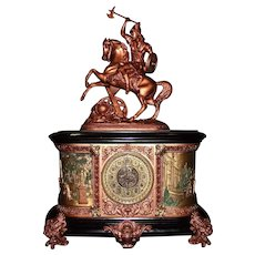 "Monumental  Ansonia ""Virginia"" Mantle Clock with ""Dagobert"" Warrior topper. !!!"