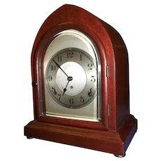Seth Thomas Gothic Arch Clock with a Pristine Mahogany Case.