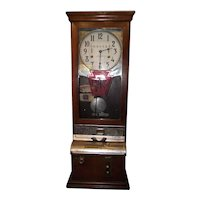 """""""Pennsylvania  Railroad * District Freight Agency, 408 Meade Building, Scranton,Pa."""" Employee Time Punch Clock in a Walnut Case !"""