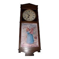 "Rare ""Woolson Spice Company * Toledo,Ohio"" Clock Advertising ""Mocha* Java * Rio Coffees"" in a Solid Oak Case !"