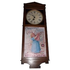 "Rare ""Woolson Spice Company * Toledo,Ohio"" Clock Advertising ""Lion Coffee"" in a Solid Oak Case !"