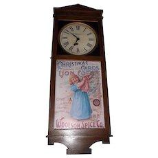 "Rare ""Woolson Spice Company * Toledo,Ohio"" Clock Advertising ""Mocha* Java * Rio Coffees"" in a Solid Oak Case !"