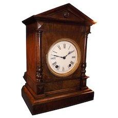"German ""Winterhalder & Hofmeier"" 1/4 Strike Walnut Bracket Clock Circa 1890's !"