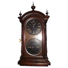 """Fashion Model No. 6 "" Calendar Clock with Black Dials in a Solid Walnut Case Circa 1870's !!!"