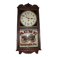 "Rare ""Acme Wagon"" Advertising Clock made by the Wm. Gilbert Clock Co. circa 1914 to 1930's."