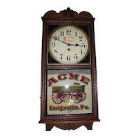 "Rare ""Acme Wagon"" Advertising Clock made by the Wm. Gilbert Clock Co. circa 1914 to 1930's."