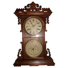 "Gale's Double Dial ""ARDITI"" Model Calendar Shelf Clock, made by the ""EN. Welch Clock Co.""  in a Solid Walnut Case circa 1880's !"