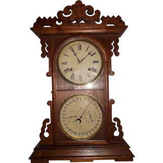 """Gale's Double Dial """"ARDITI"""" Model Calendar Shelf Clock, made by the """"EN. Welch Clock Co.""""  in a Solid Walnut Case circa 1880's !"""