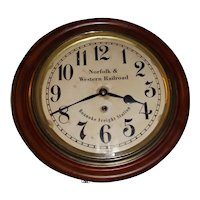 """RARE """"Norfolk & Western Railroad * Norfolk Freight Station"""" Gallery Clock in a Cherry Wood Case marked """"Lobby"""" Model !"""