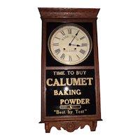 "Rare Time & Hourly Strike ""Calumet Baking Powder"" Advertising Store  Regulator in a Solid Oak Case circa 1930 !"