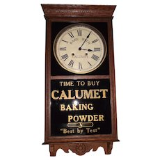 "Rare Time & Hourly Strike ""Calumet Baking Powder"" Advertising Store  Regulator in a Solid Oak Case circa 1930 !"