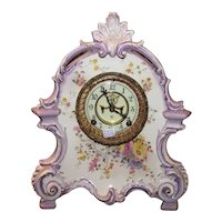 """La Bretagne"" Model China Case Clock made by ANSONIA. Pierced Topper, Lavender Trim with Gilt Highlights, and Chrysanthemums, circa 1914 !"