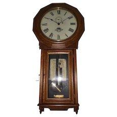 """Rare """"Baltimore & Ohio Railroad Clock"""" in a Seth Thomas # 3 Regulator with Solid Oak Case !!! Circa 1884 to 1890."""
