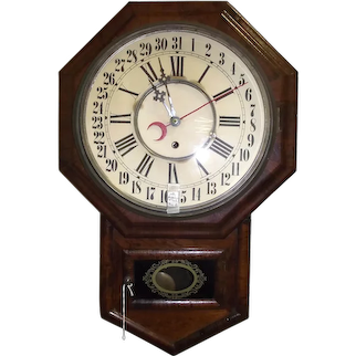 """Schoolhouse Style """"Short-Drop Clock with Day of the Month Calendar"""" in a Rosewood Veneered  Case !!! Wm. Gilbert Clock Co. circa 1880's."""