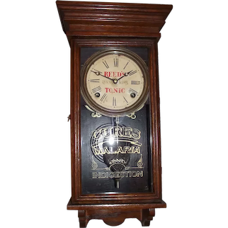 """Miniature """"Reed's Tonic"""" Store Advertising Regulator in a Solid Oak Case circa 1920's to 1940's !"""