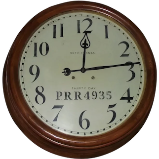 """32 inch """"Pennsylvania Railroad"""" Gallery Clock made by Seth Thomas with the 30 Day Movement in an Oak Case circa 1909 !!!"""