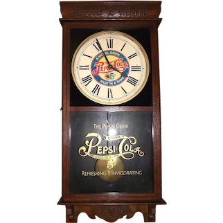 """""""Pepsi Cola"""" Advertising Store Regulator in a Solid Oak Case, made by the E. Ingraham Clock Co. circa 1920's to 1940's !"""