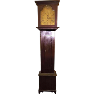 Rare SHAKER Built Tall Case Clock, with Wood Movement & Dial in the original Red Stained Case  !!!
