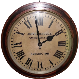 """HUGE Drum Shaped Mahogany Gallery Clock Advertising the Famous """"Barker & Co. Ltd. Store in Kensington"""", London, England Circa 1890's !"""