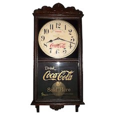 """Coca-Cola & F.W. Woolworth Store Advertising Clock, made by the """"Sessions Clock Co."""" with a Solid Oak Case Circa 1925"""