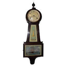 Sessions Clock Co. 8 Day Banjo Clock with Time & Hourly Strike on Coil Gong in a Walnut Case !