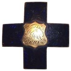 """Captain Nathaniel Ellmaker"" Engraved Civil War 6th Corp GOLD Badge with Blue Enamel designating 3rd Division ""Com. of Subsistance U.S.V. !!!"