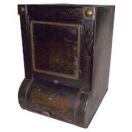 General Store Tin  Dispenser with Original Bevel Cut Front  Mirror ! Ca. 1895.