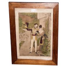 """Hand Colored """"The Soldier's Adieu"""" Print Circa 1845 with Solid Black Walnut Frame  (Lith. & Pub. by J. Baillie, N.Y.)"""