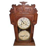 "Fancy Waterbury ""Calendar Model 43"" Double Dial Shelf Clock in a Solid Oak Case !!!"