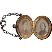 "14 Kt. Gold  ""G.A.R. engraved Canteen"" containing a Double Photo  Locket, with Veteran's Wife & Mother photo portraits, with a ""C"" engraved on reverse !"