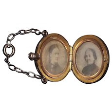 """14 Kt. Gold  """"G.A.R. engraved Canteen"""" containing a Double Photo  Locket, with Veteran's Wife & Mother photo portraits, with a """"C"""" engraved on reverse !"""
