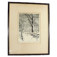 "Vintage Drypoint ""Oaks in Winter"" By George Elbert Burr Framed Print"