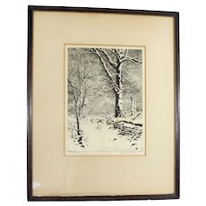 """Vintage Drypoint """"Oaks in Winter"""" By George Elbert Burr Framed Print"""